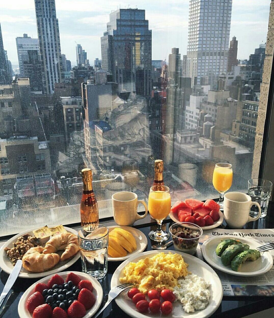 beautiful, breakfast, champagne, city, cityscape