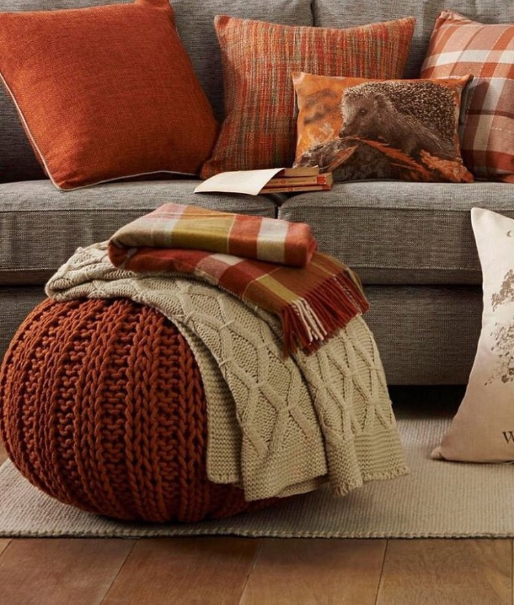 autumn, blanket, couch, fall, home
