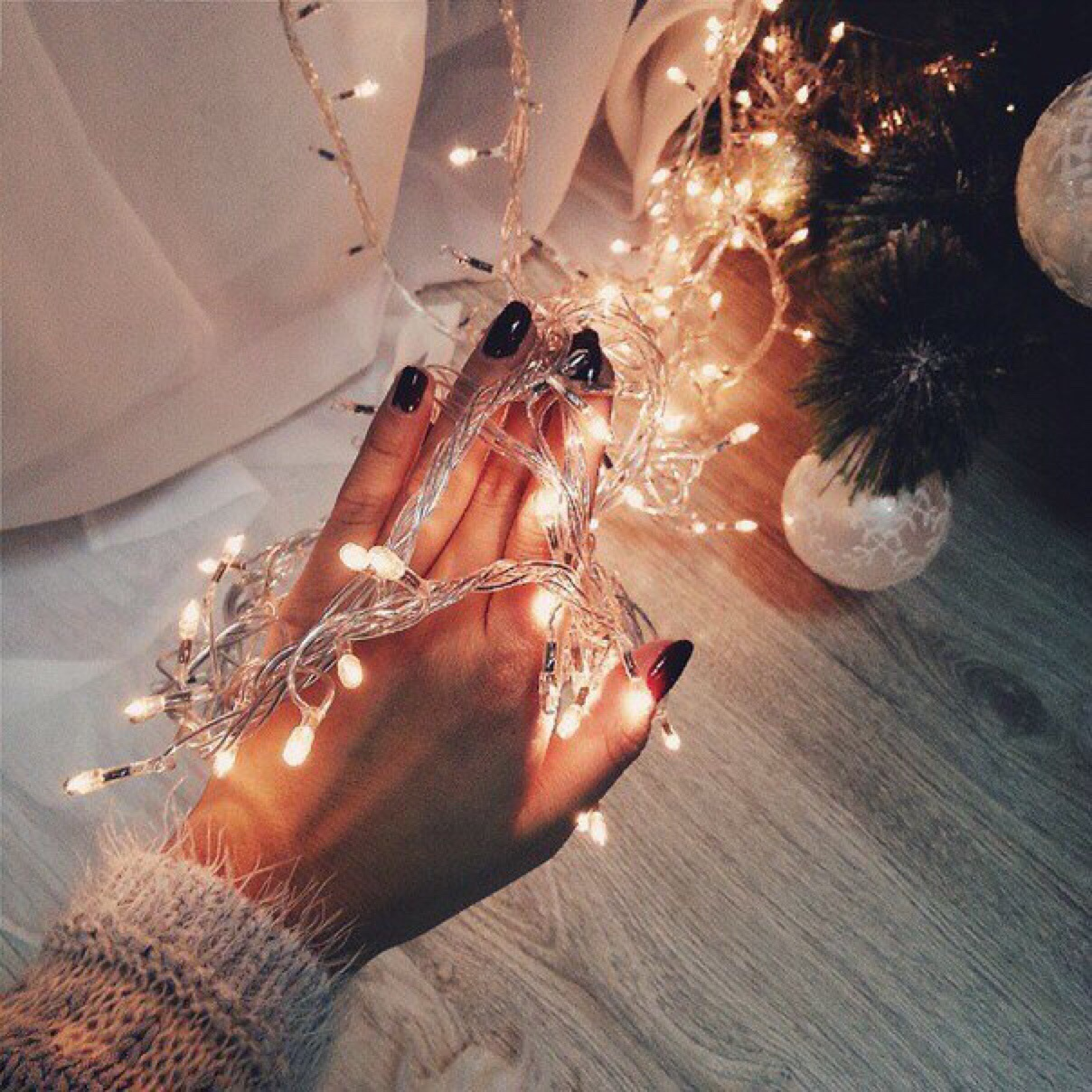 christmas, christmas lights, december, fairy lights, hands
