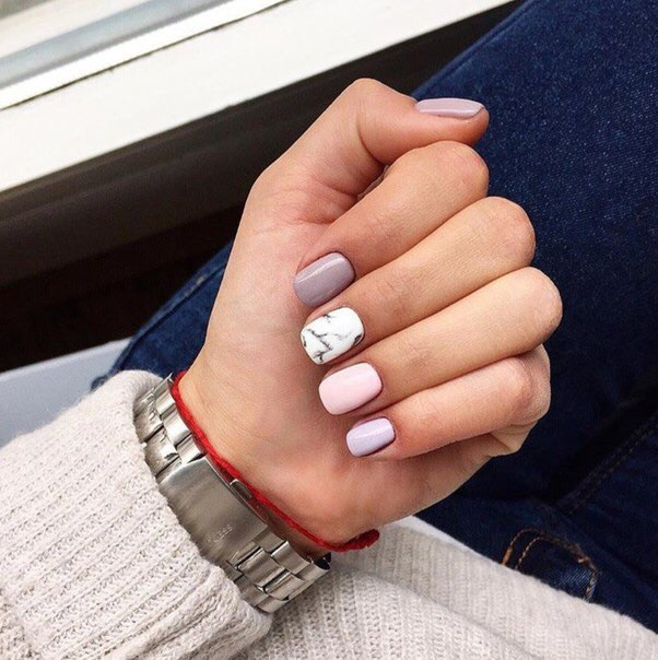 girly, manicure, marble, pink, pretty