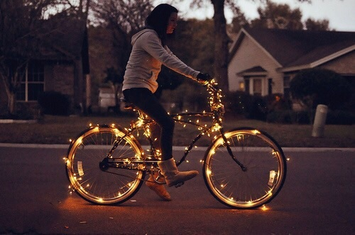 bike, christmas, christmas time, lights, we heart it