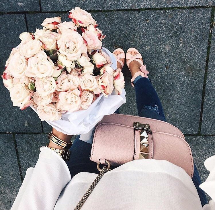 bag, bouquet, fashion, flower, girl