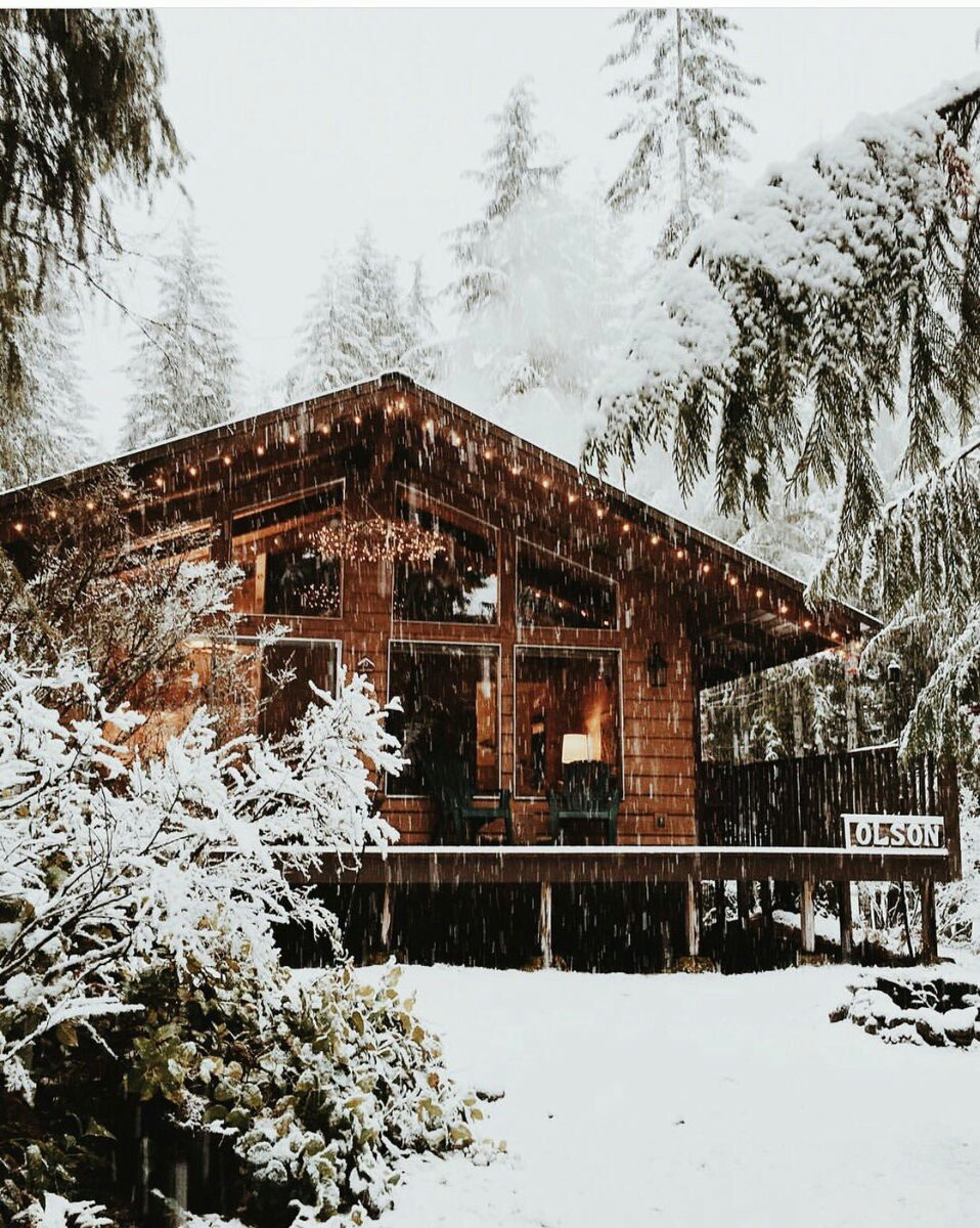 cabin, holiday, snow, winter