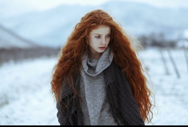 beauty, girl, red hair, snow
