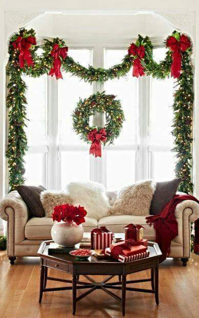 beautiful, bow, christmas, couch, decoration