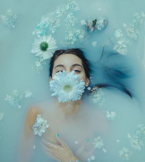 aesthetic, aesthetics, blue hair, cute girls, flowers