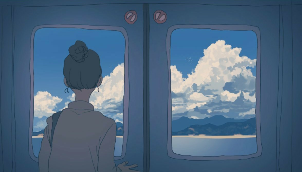 aesthetic, anime girl, anime scenery, blue, clouds