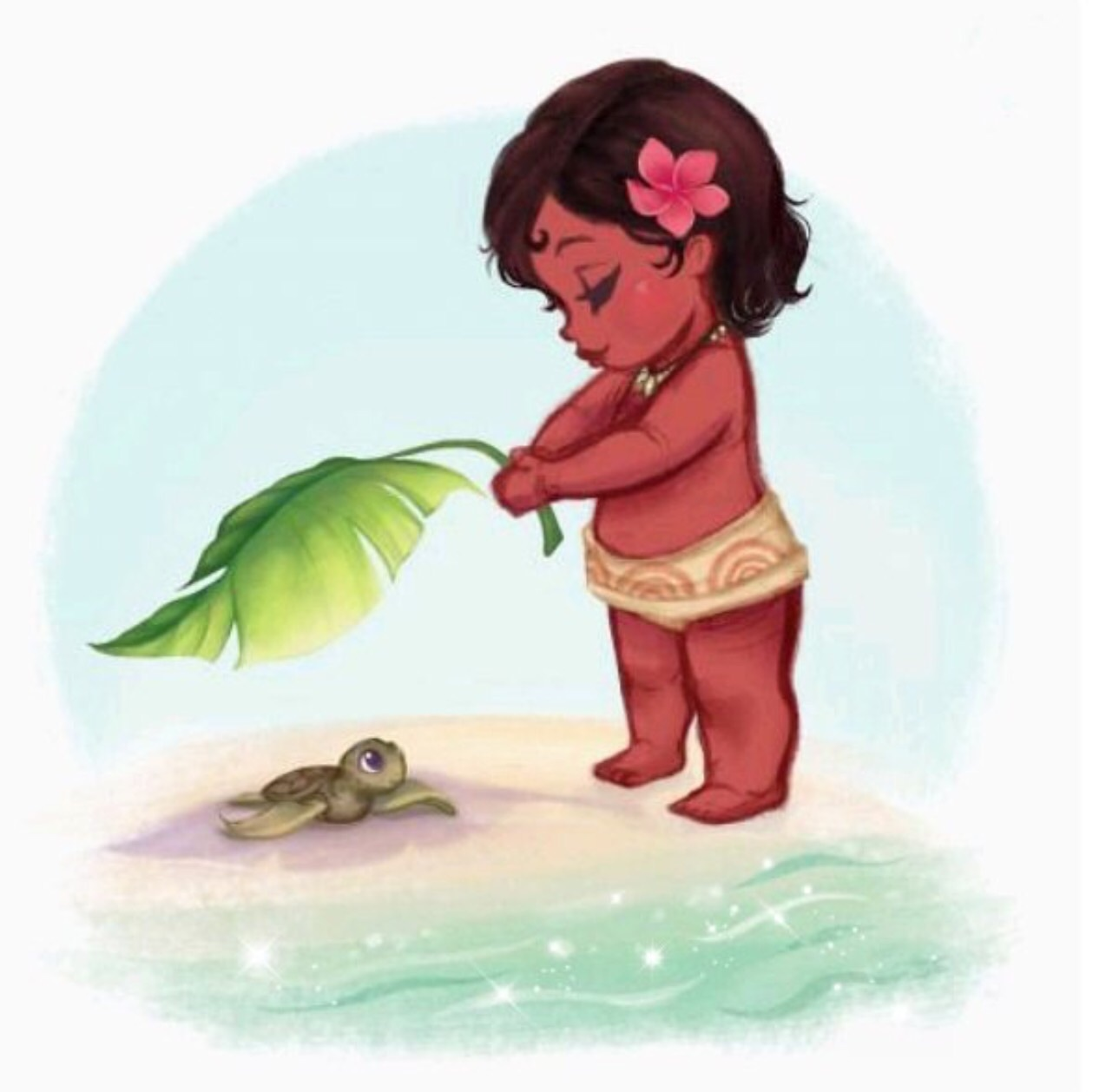 baby, cute, disney, leaf, moana