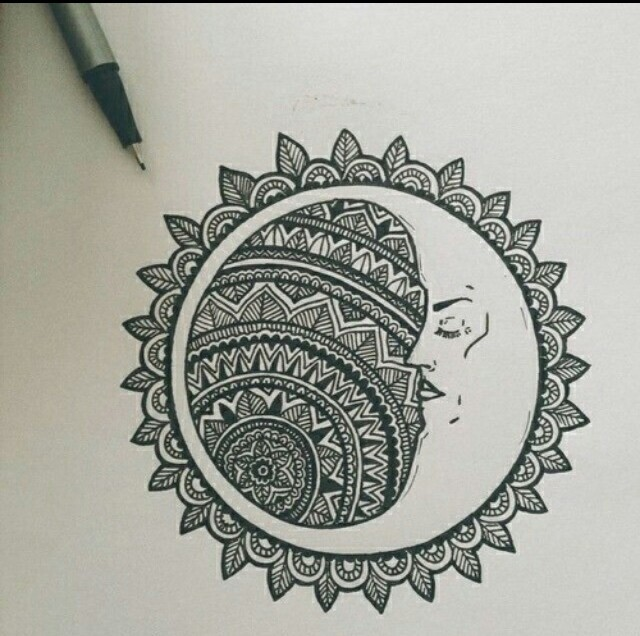drawing, mandala, moon, pen, sun