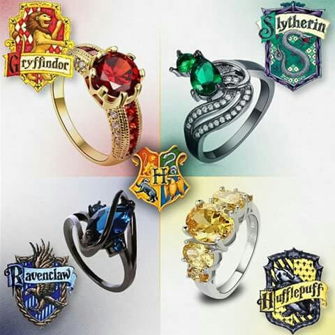 grifindor, harry potter, hufflepuff, ravenclaw, rings