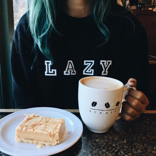 blue hair, christmas, coffee, dessert, fashion