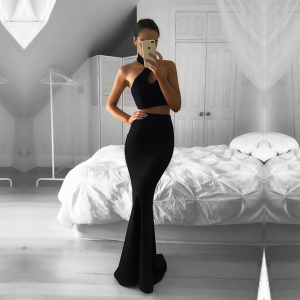 black, formal gown, halter and prom dress