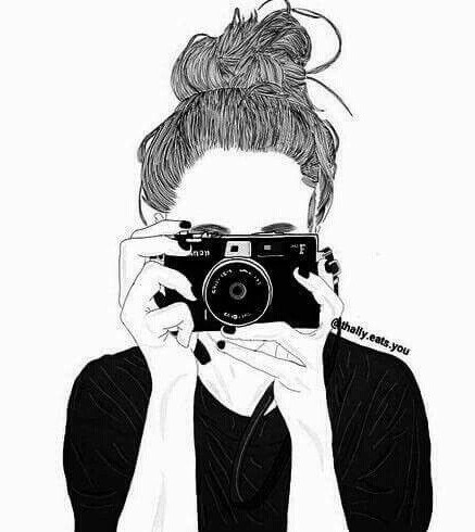 black and white, camera, cute, drawing, girl