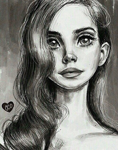 art, drawing, eyes, lana del rey, portrait