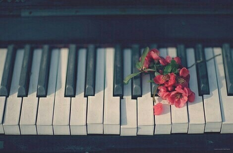aesthetic, black, flowers, piano, red