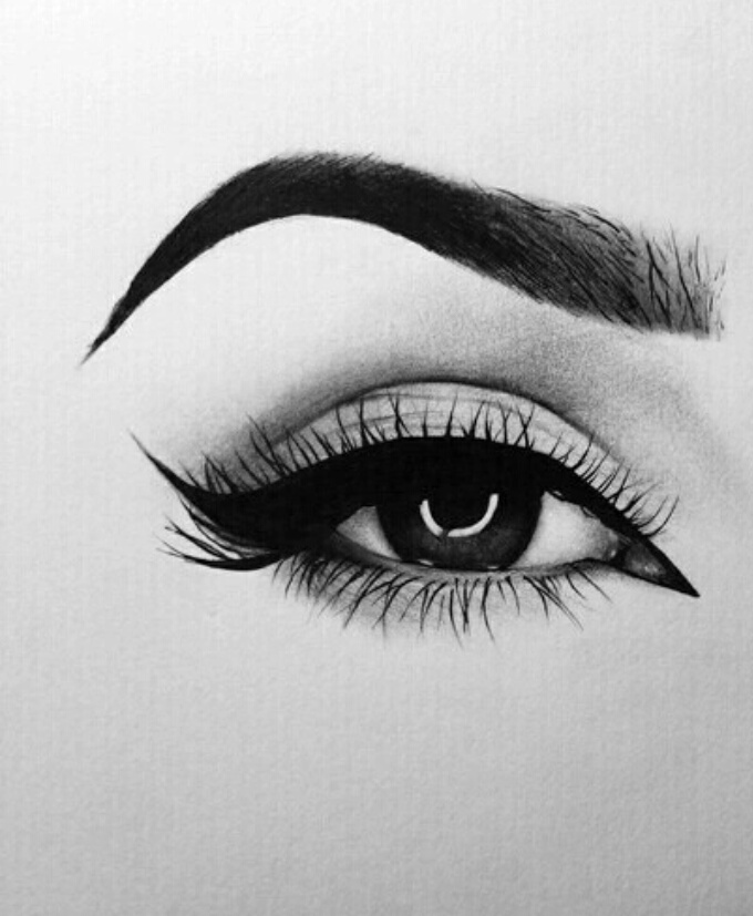 art, black and white, drawing, eye, painting