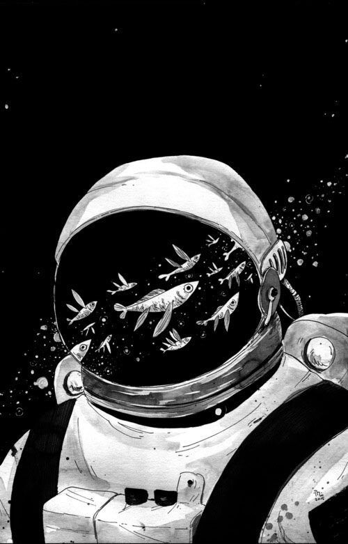 art, astronaut, fish, illustration, universe
