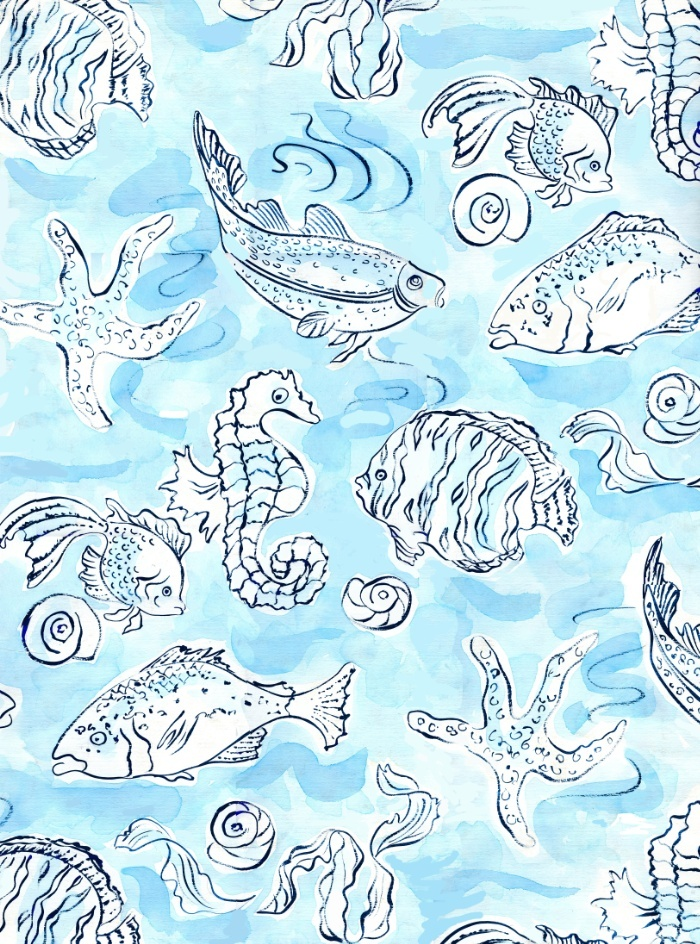 background, fish, pattern, seahorse, shell