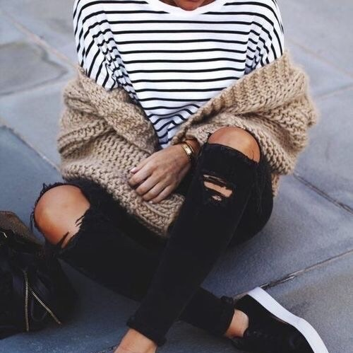 black jeans, for winter, love it, outfit, stripes