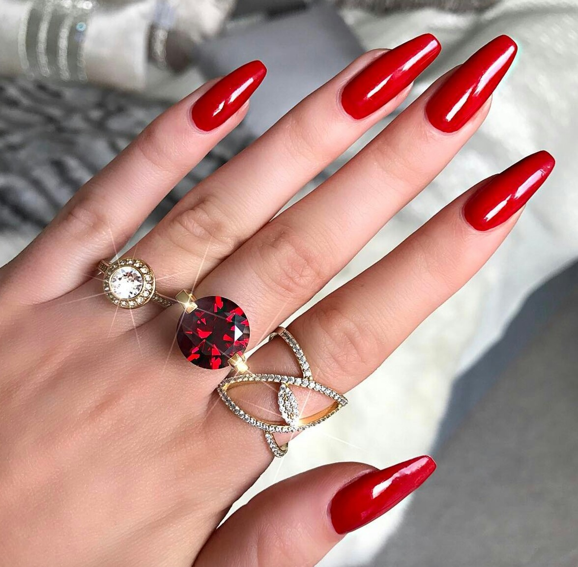 beauty, design, nails, pretty, red