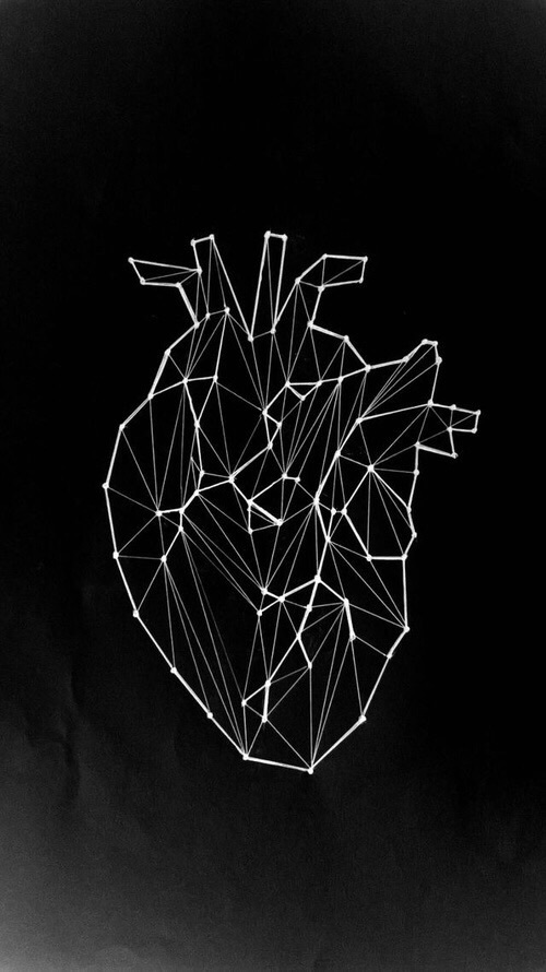 black, black&white, geometry, heart, love