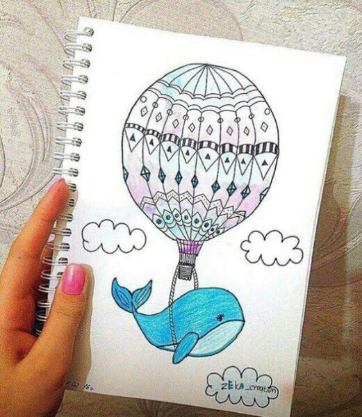 balloon, draw, fly, whale