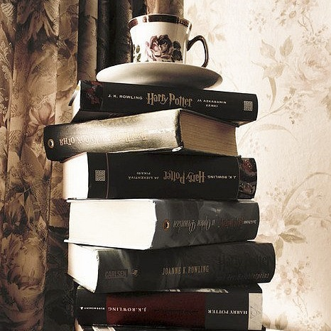 books, coffee, harry potter, read, reading