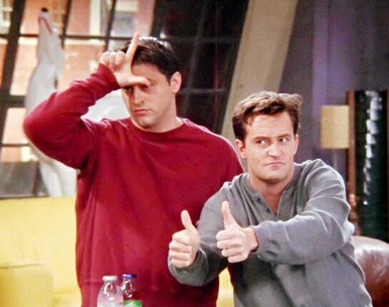 aesthetic, chandler bing, friends, joey and chandler, joey tribbiani