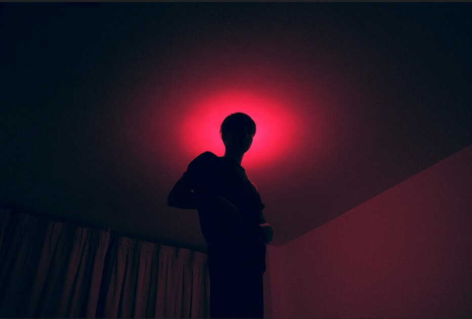 boy, dark, light, pink, shadow