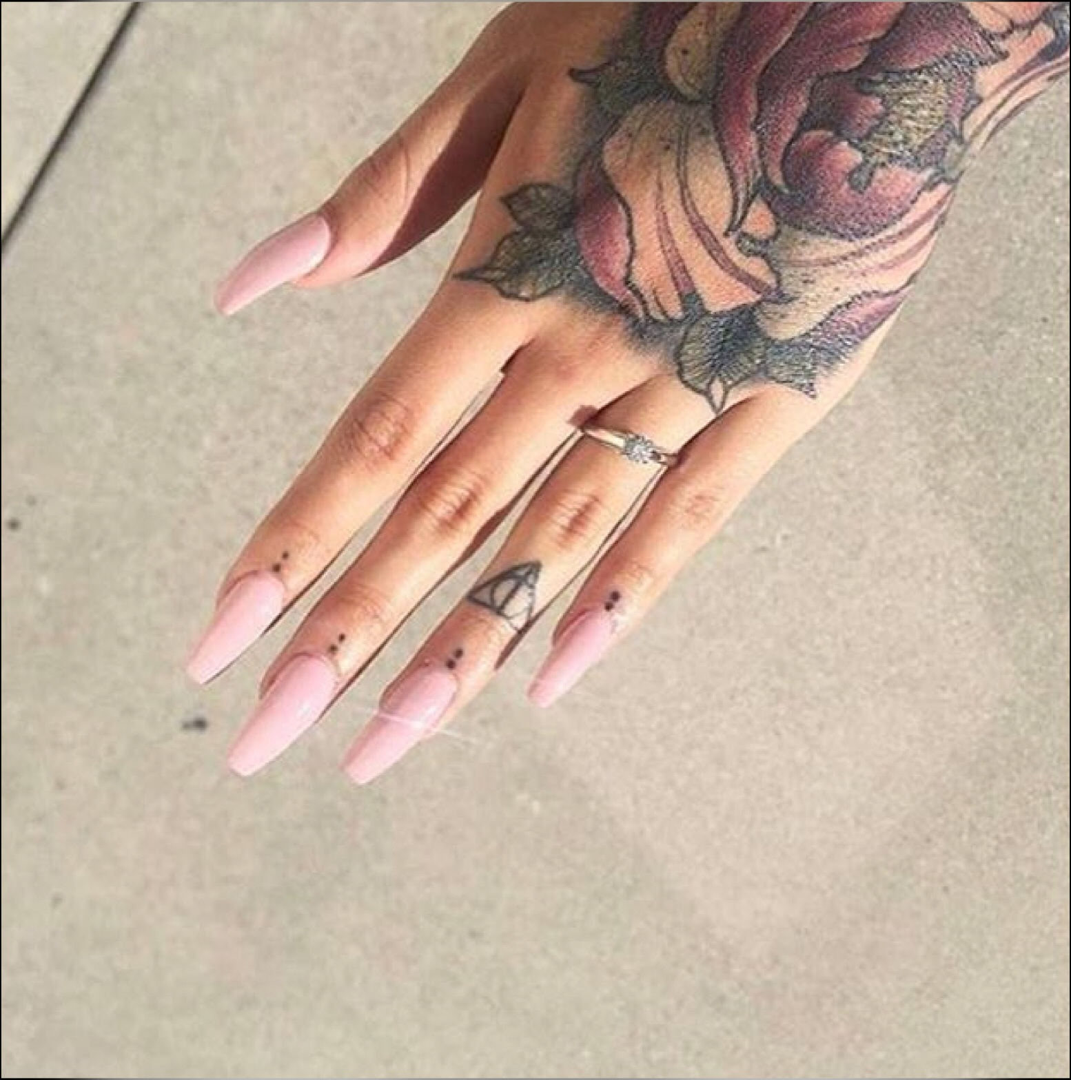 girl, long nails, nails, nails polish, tattoo