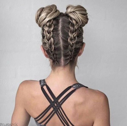 aesthetic, blonde, braided, braids, buns