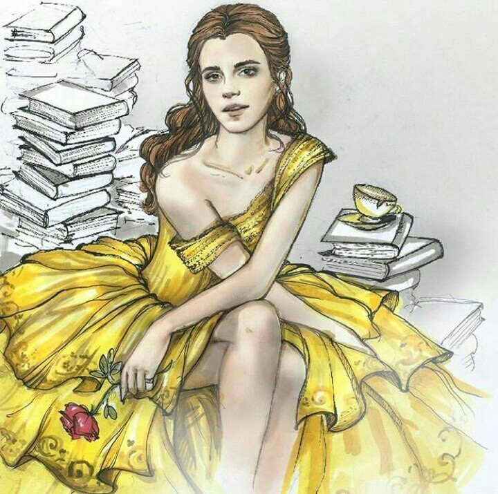 art, beauty and the beast, belle, disney, drawing
