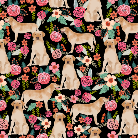 animal, background, cute, dog, floral