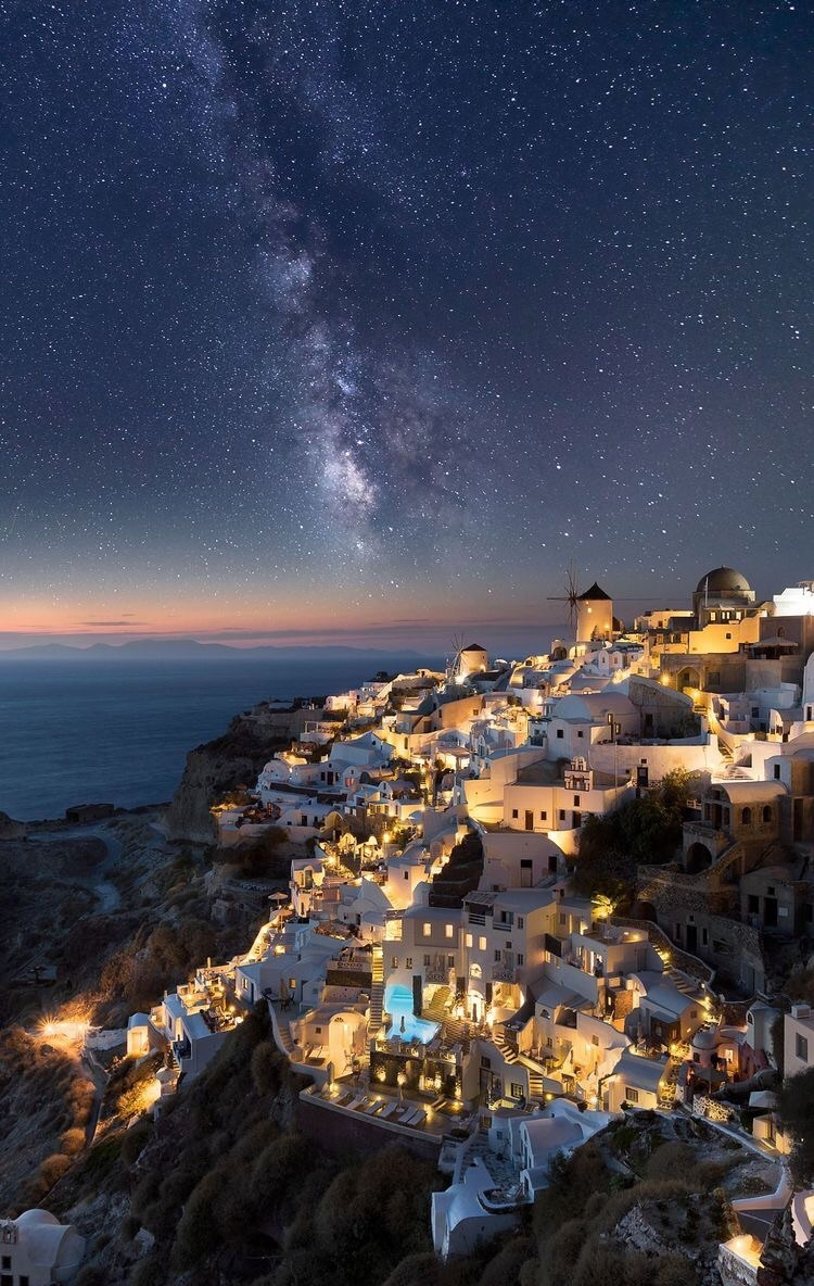 beach, beautiful, city, greece, lights