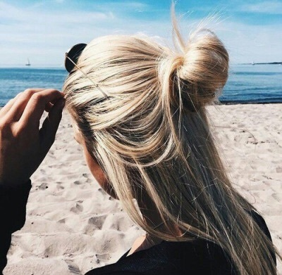 beach, blonde, bun, girl, hairstyle