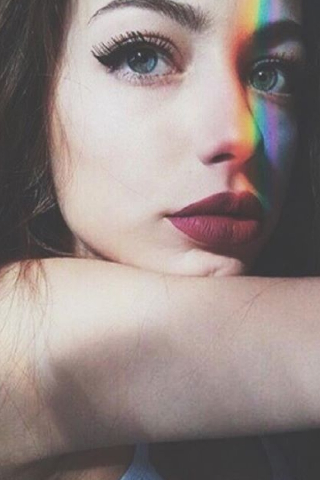 beauty, girl, make up, rainbow, tumblr