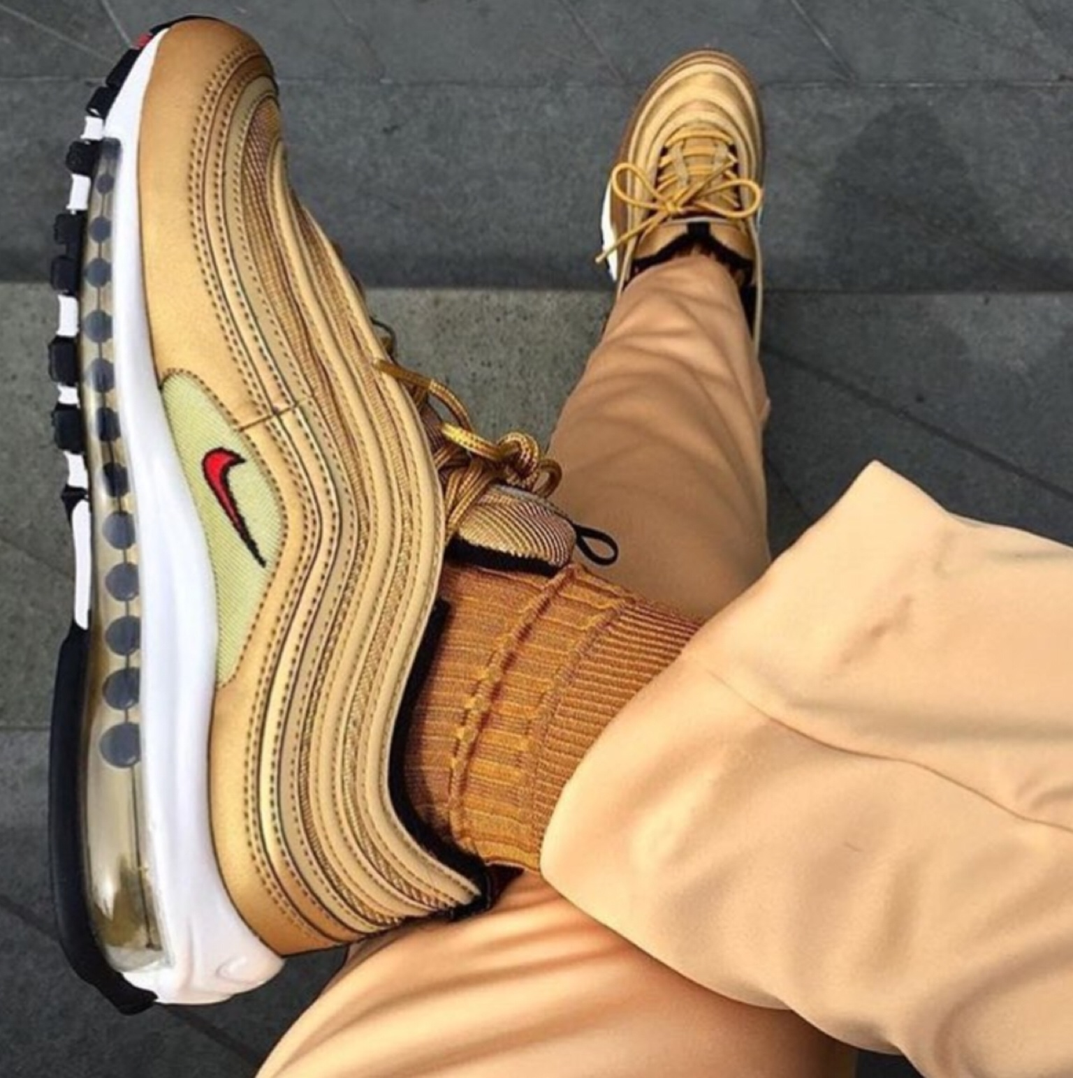 fashion, golden, nike and shoes - image