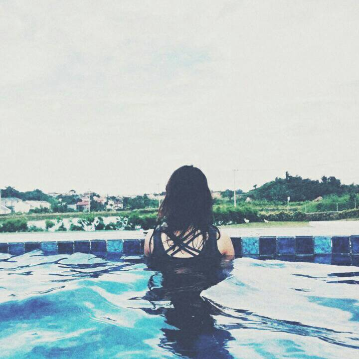 alone, blue, girl, images, pool