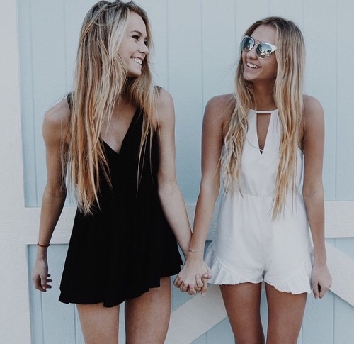 besties, bff, blondes, clothing, fashion