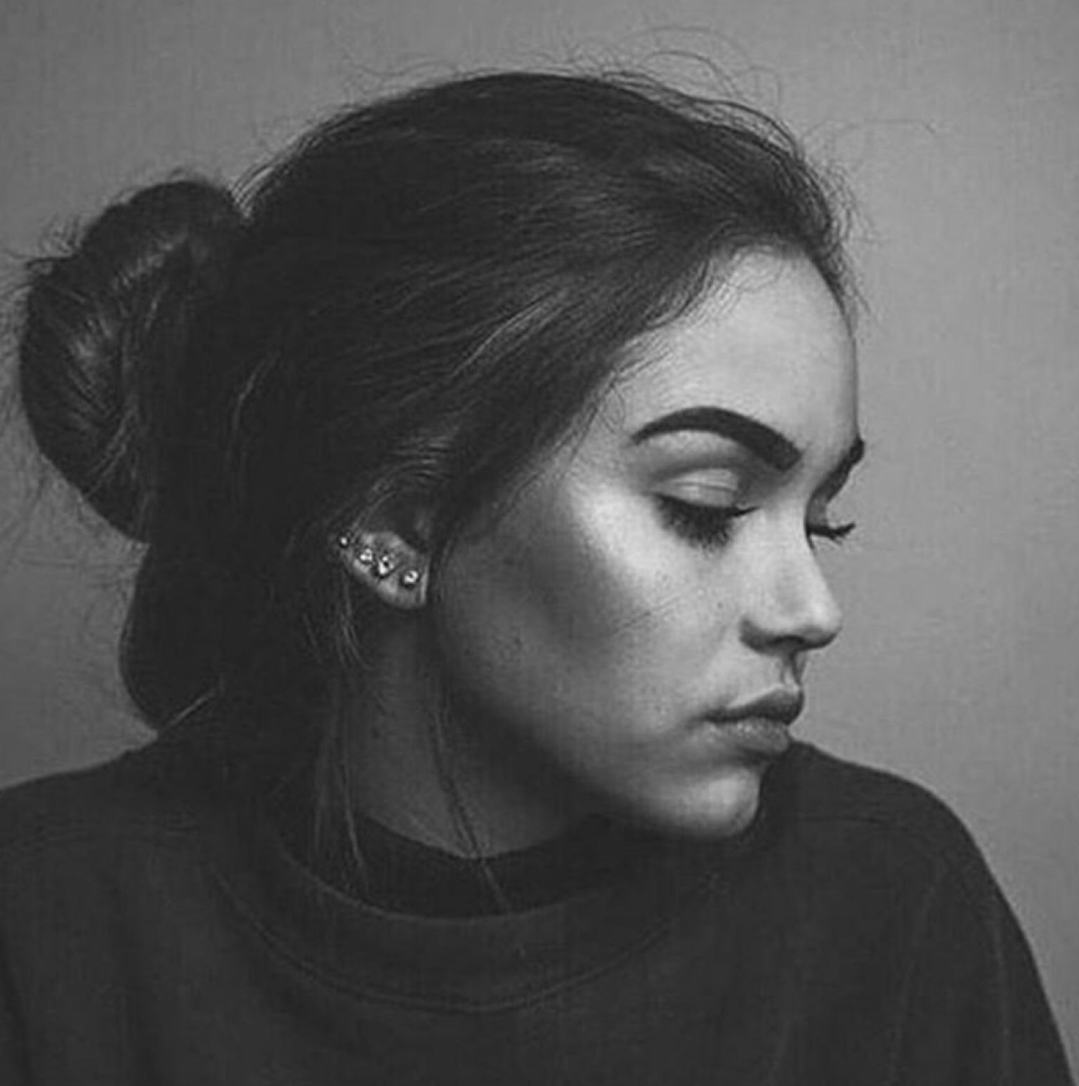 b&w, beautiful, black and white, blackandwhite, bun