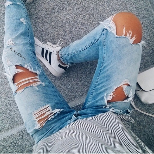 adidas, denim, grunge, outfit, ripped jeans