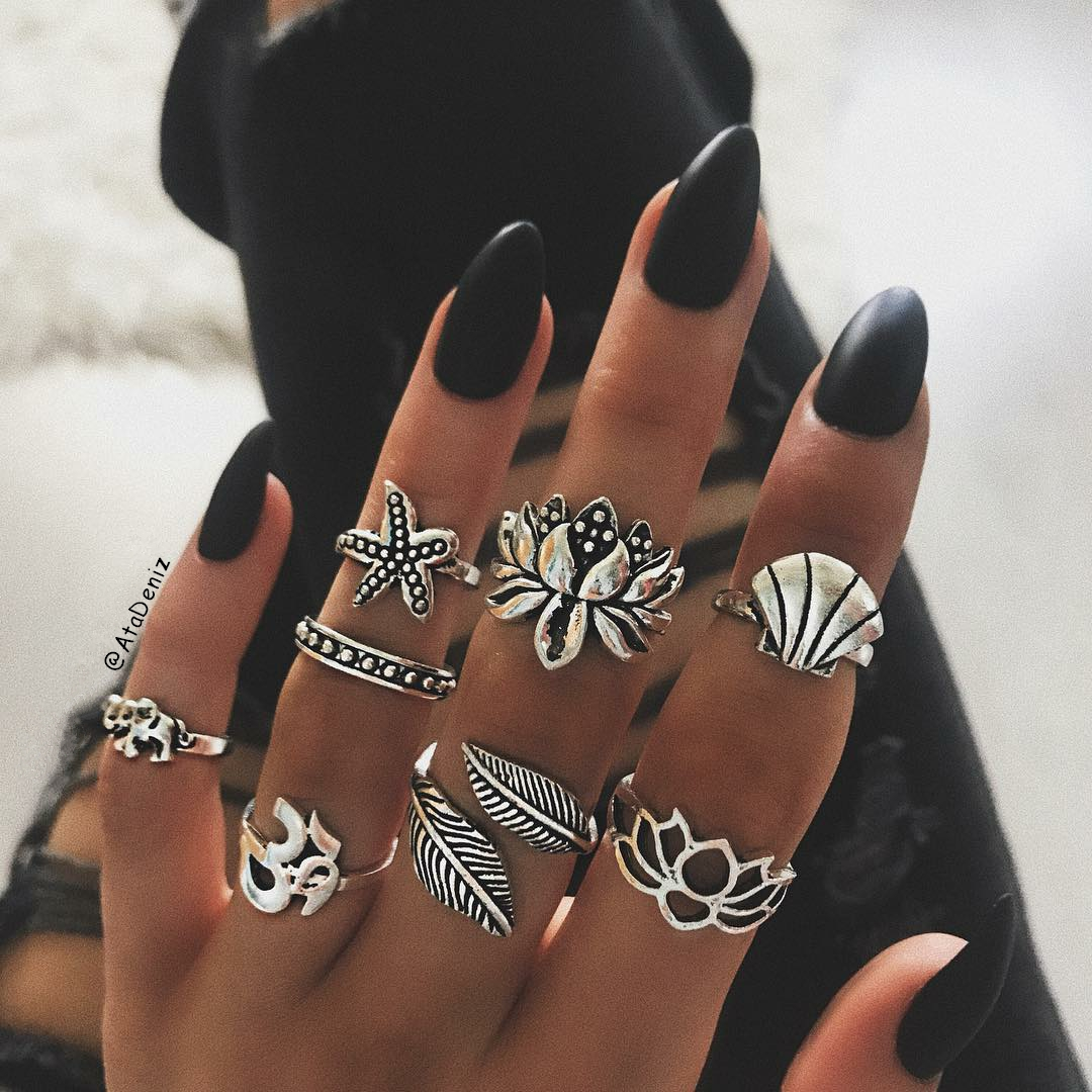 black, bohemian, boho, nails, rings