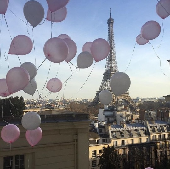 balloons, france, holidays, paris, sky