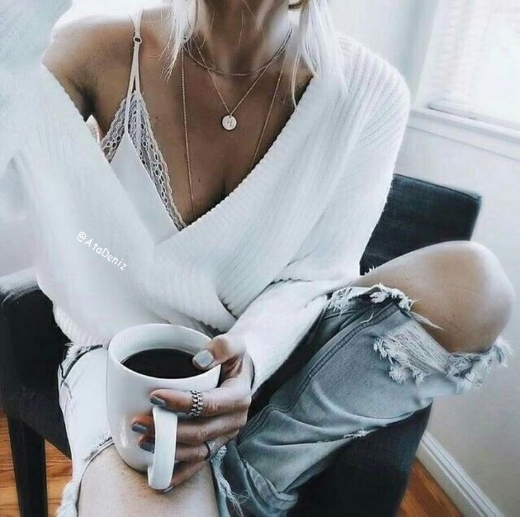 bralette, coffee, denim, knit, morning