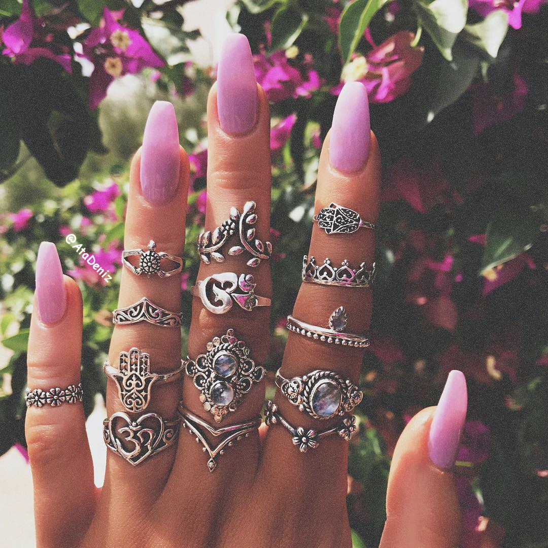 bohemian, boho, nails, rings, strling