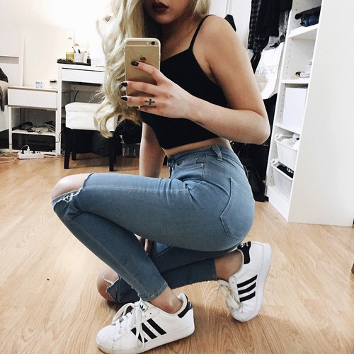 adidas, clothes, cropped, fashion, jeans