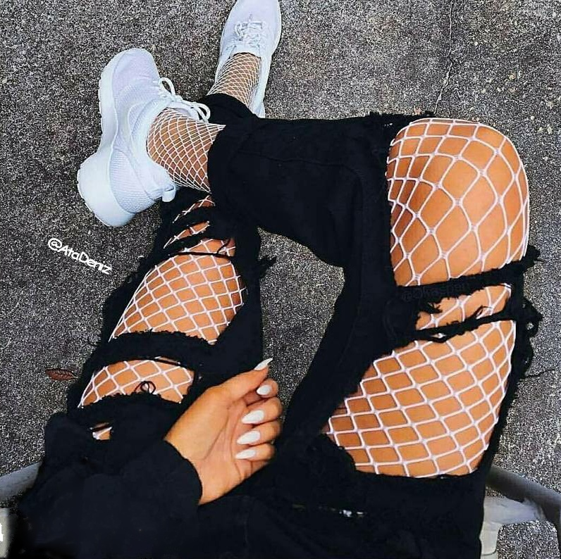 adidas, fishnet tights, nails, sneakers, trendy