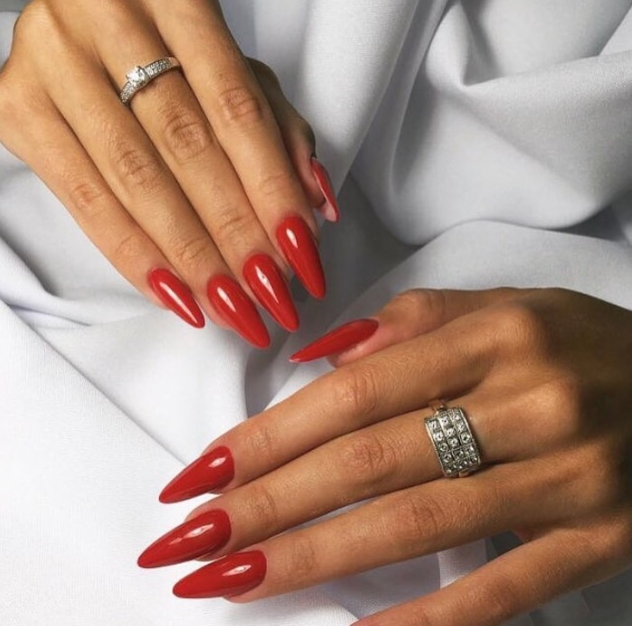aesthetic, nail, nails, pale, red