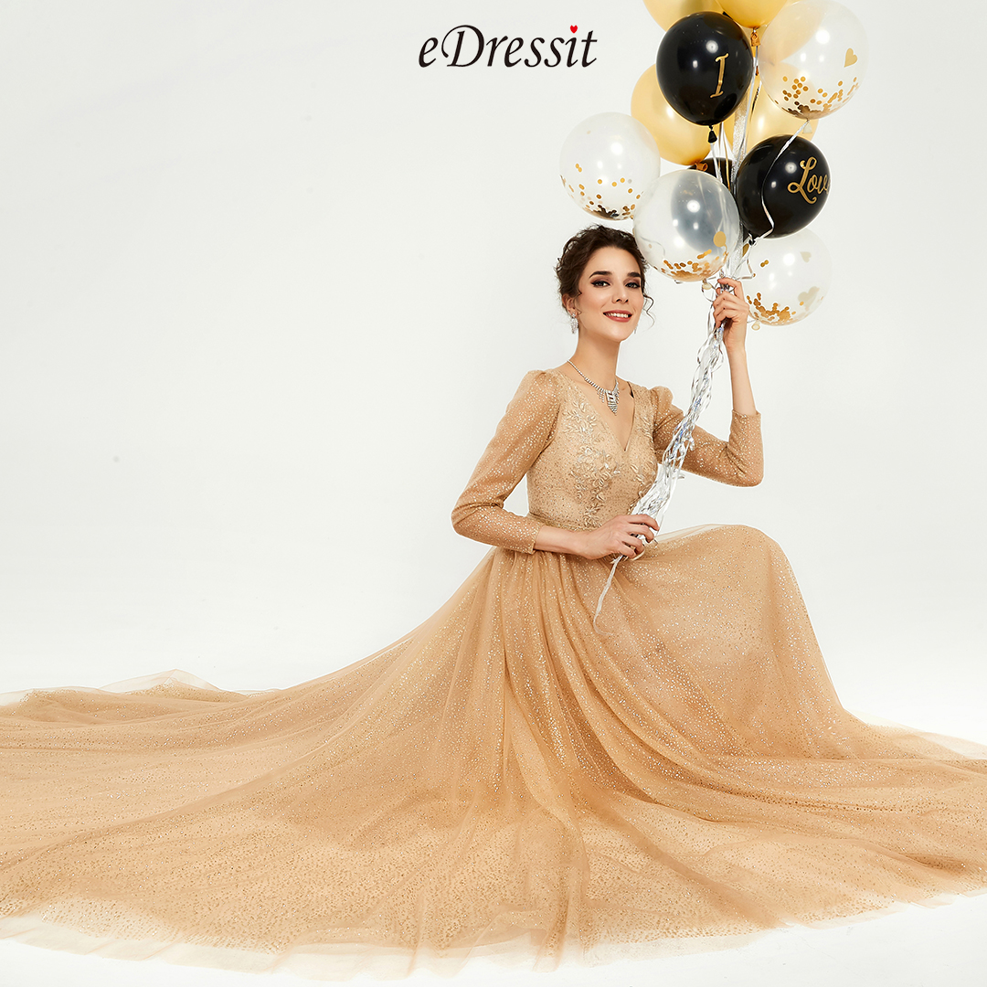 lace, long sleeves, V-cut, gold prom gown, shiny evening dress